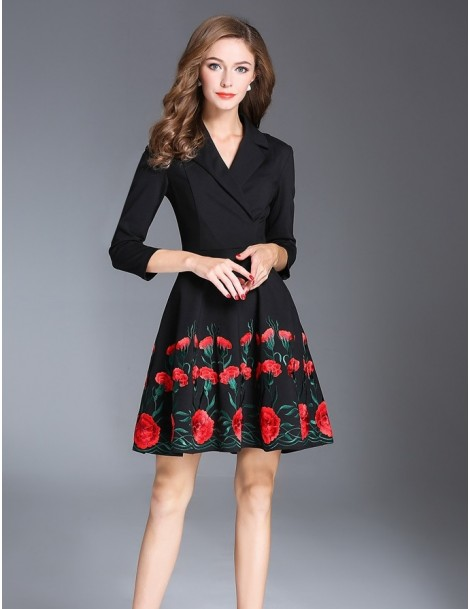 black embroidered dress with three quarter sleeves
