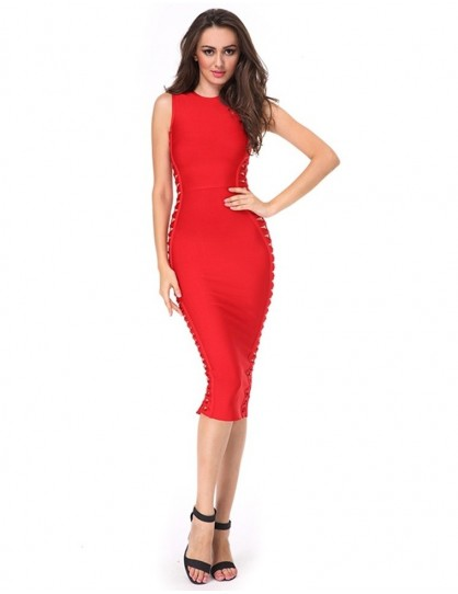 middle long red bandage evening dress with hollow out side